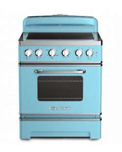 30″ Retro Electric Induction Range Retro Collection Beach Blue