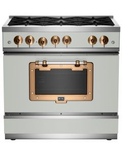 """36"""" Classic Stove Classic Collection Premium Light Grey 7035-Brushed Copper"""