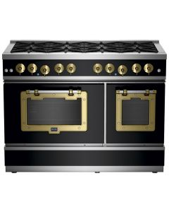 "48"" Classic Stove Classic Collection Matte Black Brushed Brass"