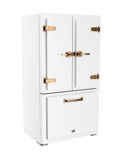 Classic Fridge Classic Collection Premium Matte White Brushed Copper