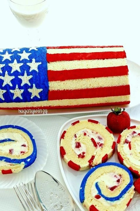 Flag Roll Cake from Sugary Winzy