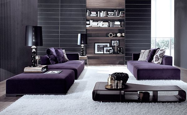 Black grey and purple living room