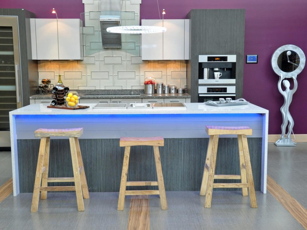 Modern Purple Kitchen With Blue Island Lighting