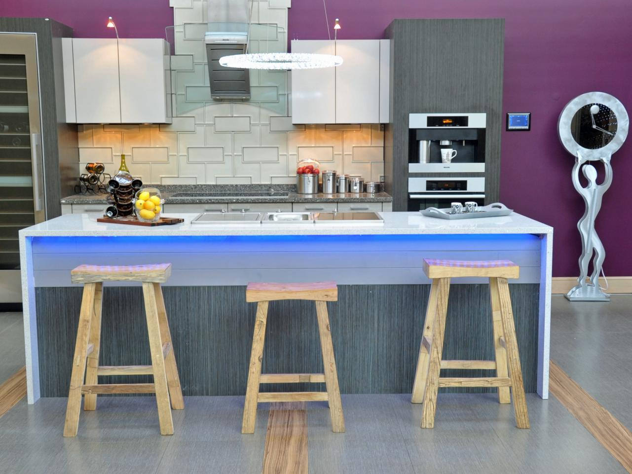 Modern Purple Kitchen With Blue Island Lighting