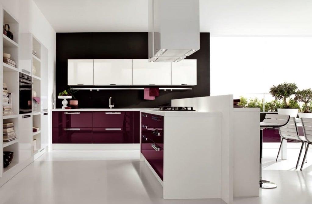 Modular Kitchen with purple furnishing