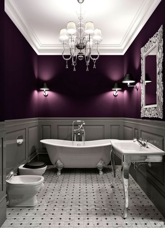 Retro Purple Bathroom 1