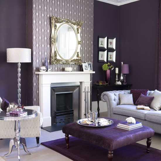 Darkest Of Purple Gives The Finest Finishing On Walls Here A Light Grey Sofa Paired With And Cushions Plus White Lamp Small