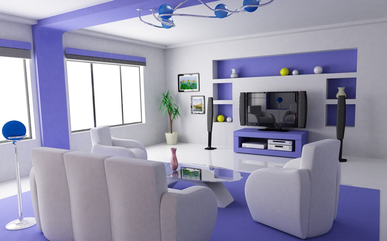 Futuristic Purple Tv Room