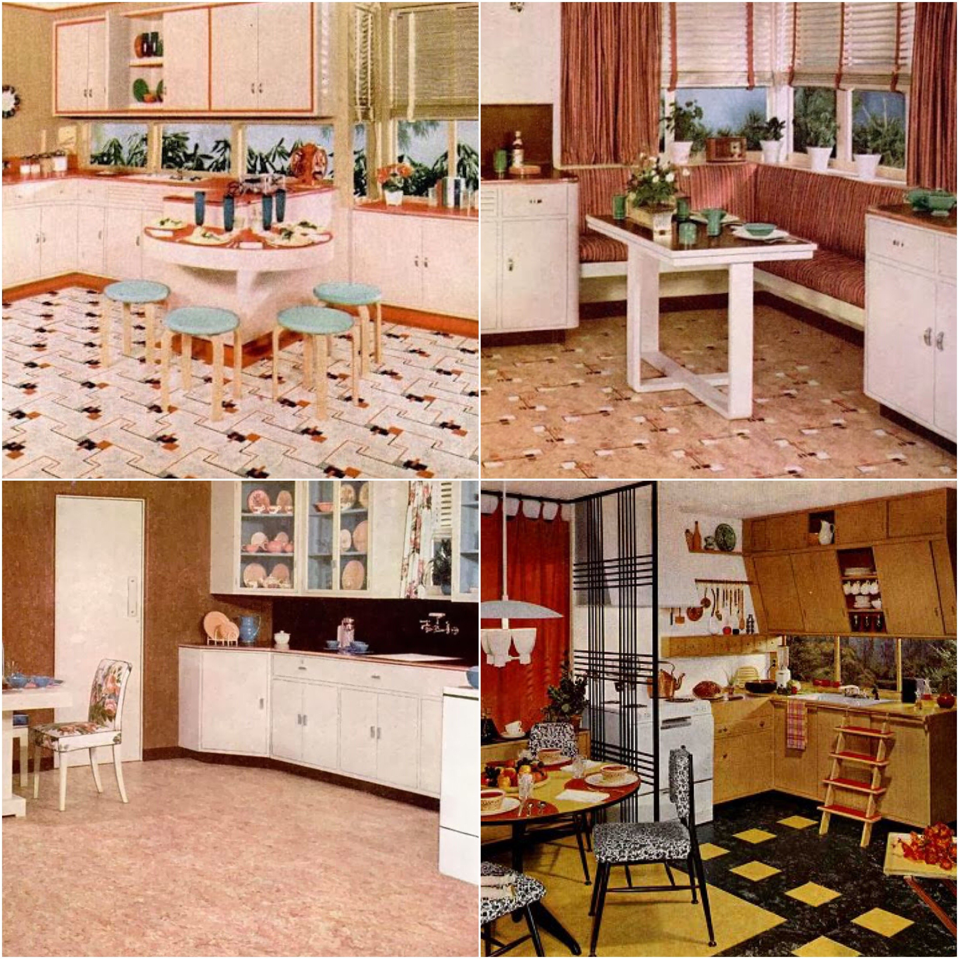 Linoleum was considered a utilitarian flooring product since its introduction but was recycled by manufacturers in the 50s to be made available in bright
