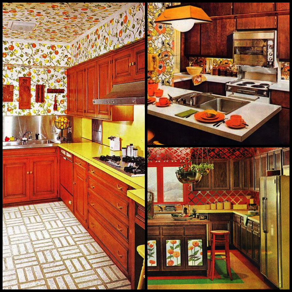 1970s kitchens in warm autumn tones for 70s style kitchen cabinets