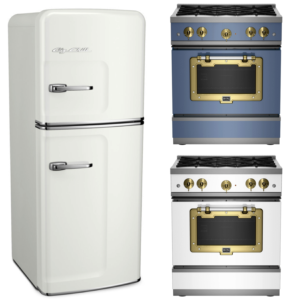 Big Chill Slim Fridge in Classic White - Classic Stove in French Blue and Classic White