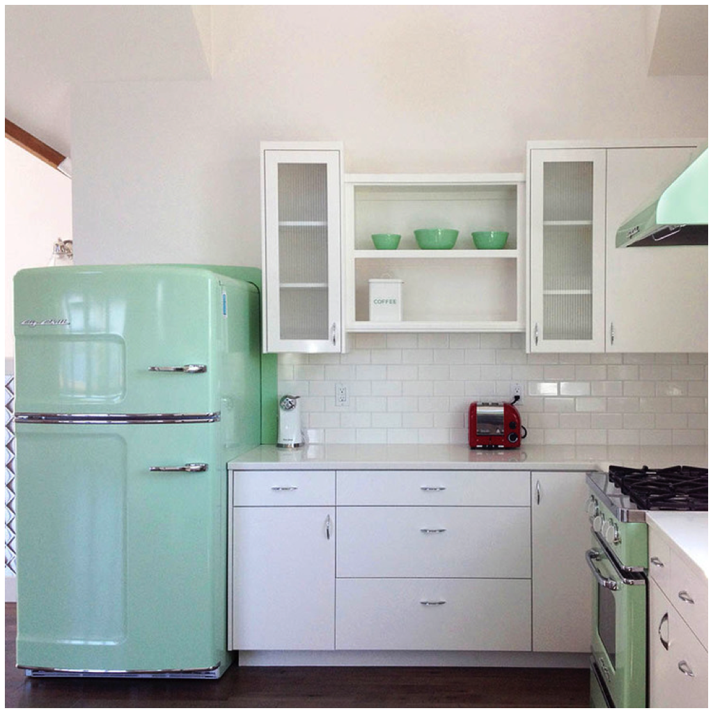 Big chill color spotlight pantone s greenery for Bi colored kitchen cabinets