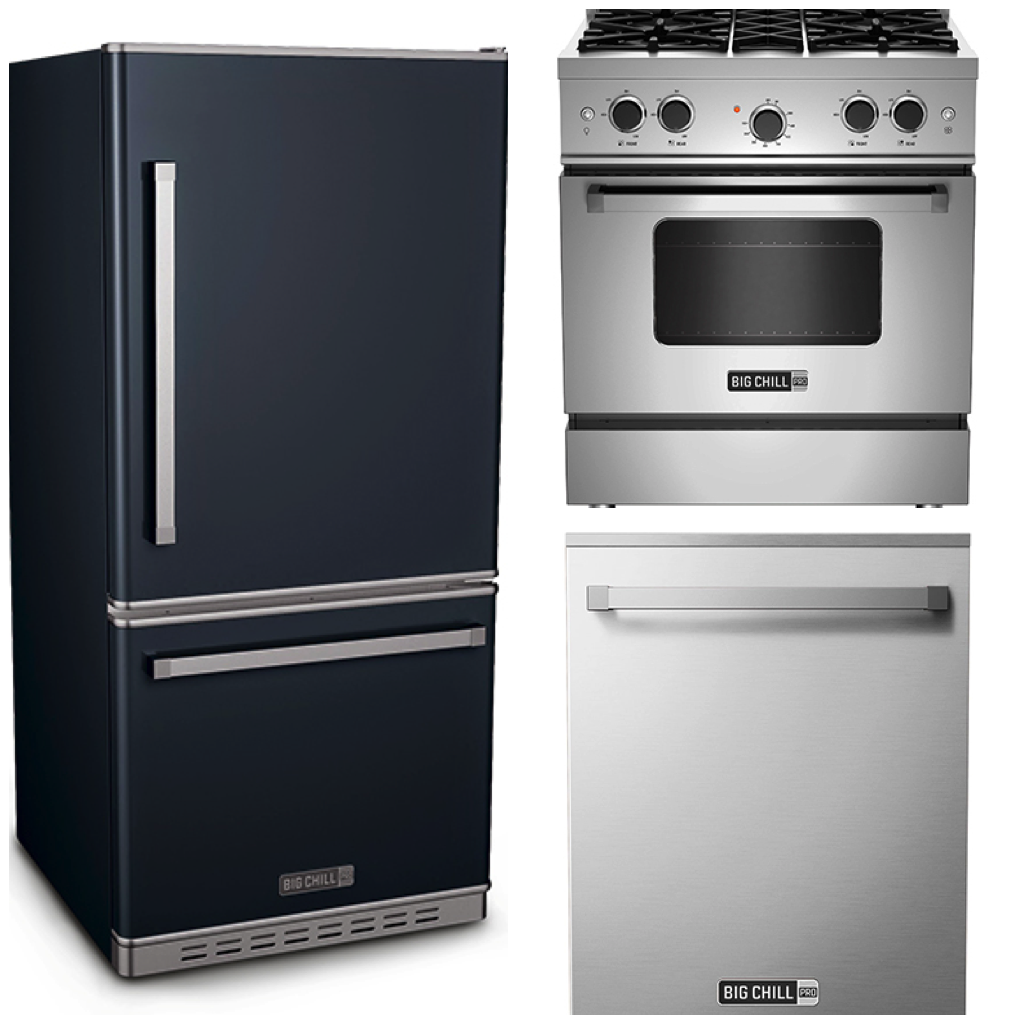 Big Chill Pro Fridge in Slate Blue - Pro Range and Pro Dishwasher in Stainless Steel