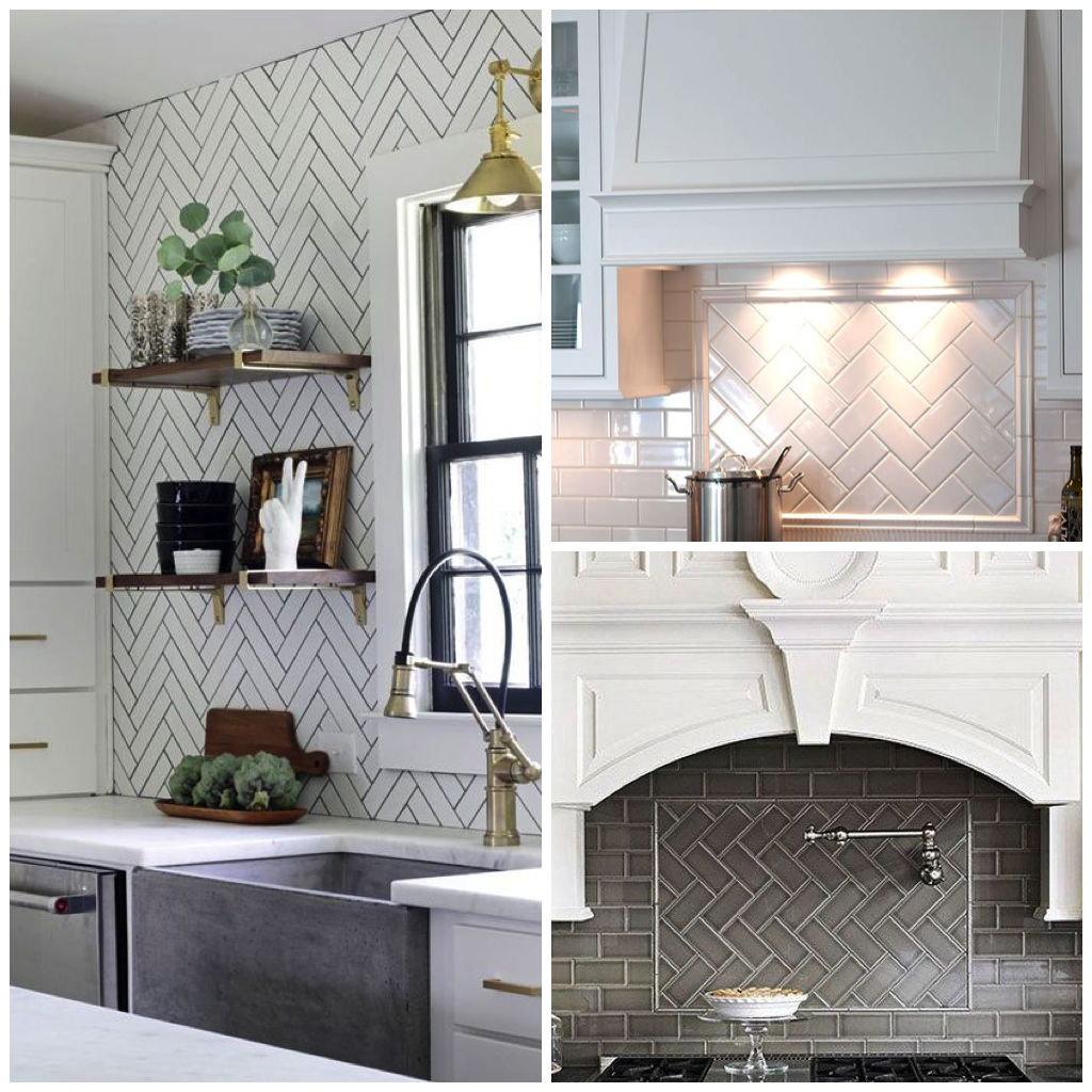6 elegant varieties of kitchen backsplash tile lay tiles in a herringbone pattern on a concentrated area like your stovetop or sink backsplash voila instant contrast of patterns dailygadgetfo Gallery