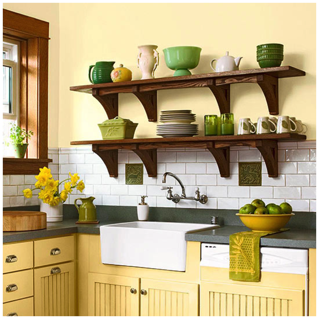 This warm shade of yellow also pairs extremely well with dark wooden accents frequently seen in french inspired or farmhouse style kitchens