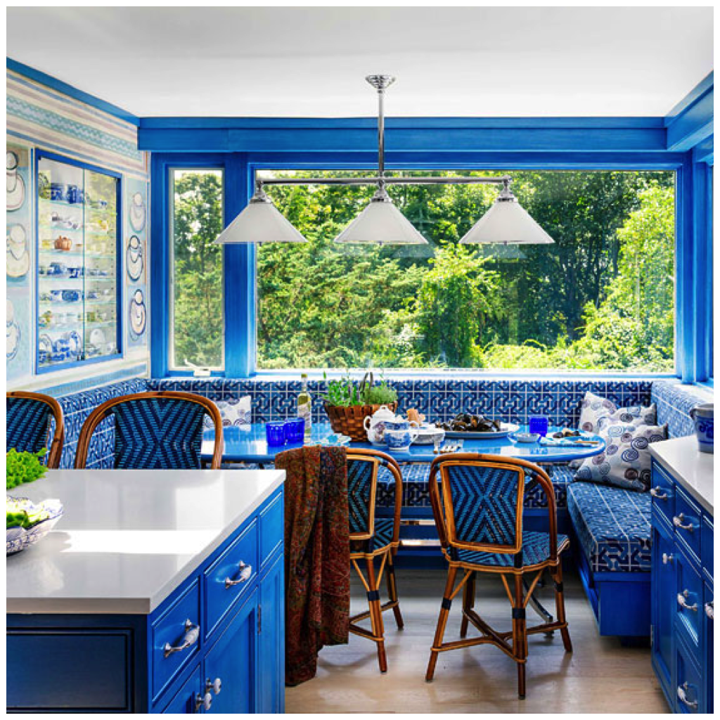 Sky Blue Is Used On The Cabinets In This Kitchen Evoking A Tropical Feel With Paired Colors Like White Parrot Green And Sea Foam