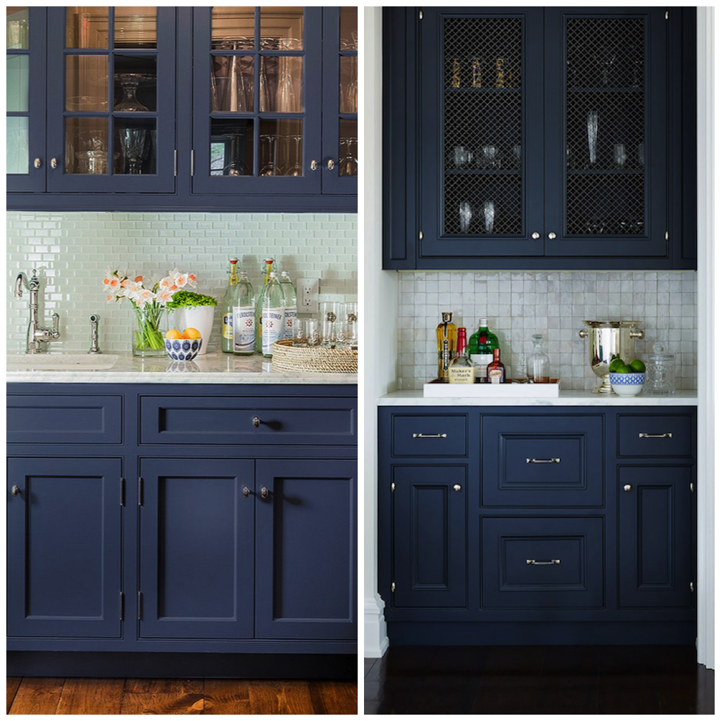 Navy blue cabinets can pull off almost any metallic tone from silver gold copper or bronze and anything in between
