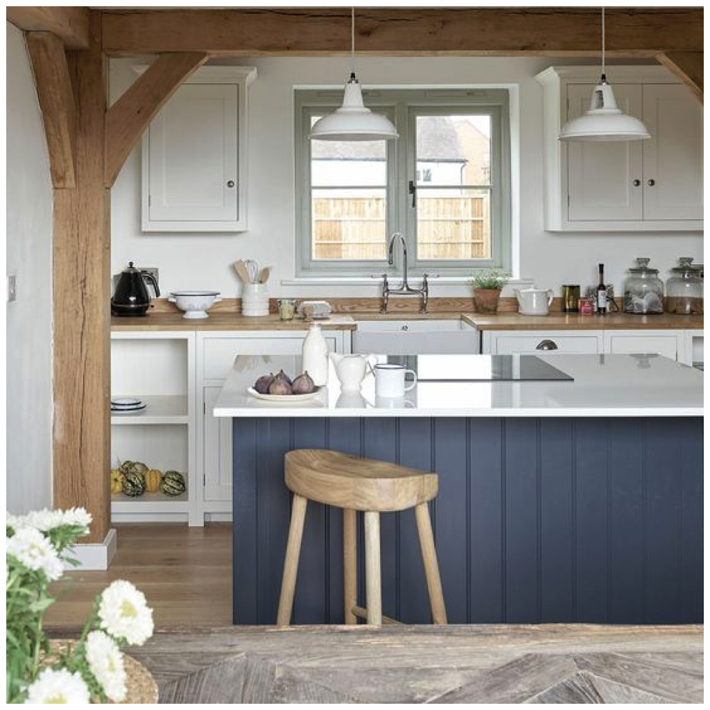 Coastal White Kitchen With Navy Blue Island: 4 Ways To Use Navy Blue In Your Kitchen