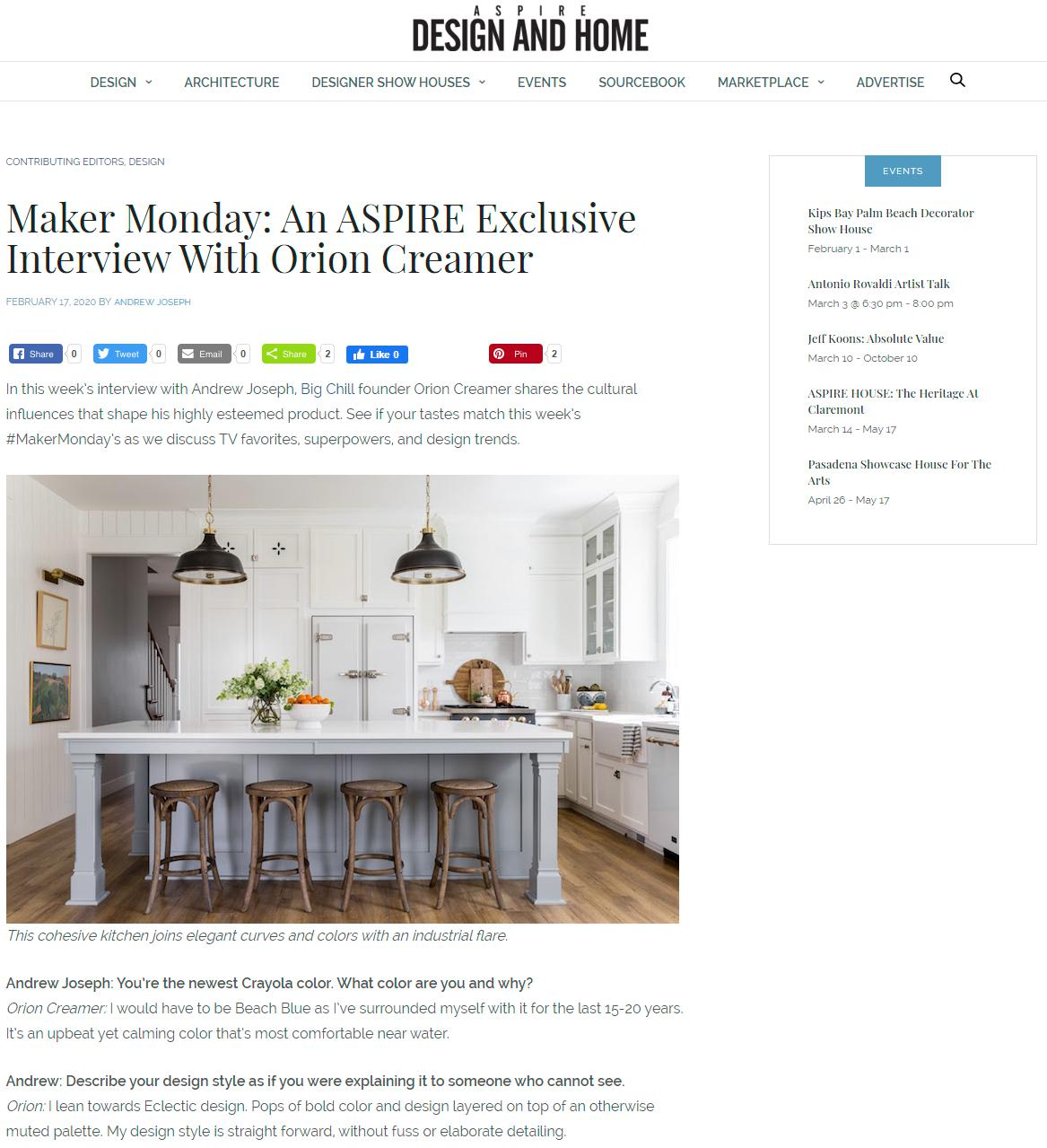 ASPIRE DESIGN + HOME – October 8th, 2019
