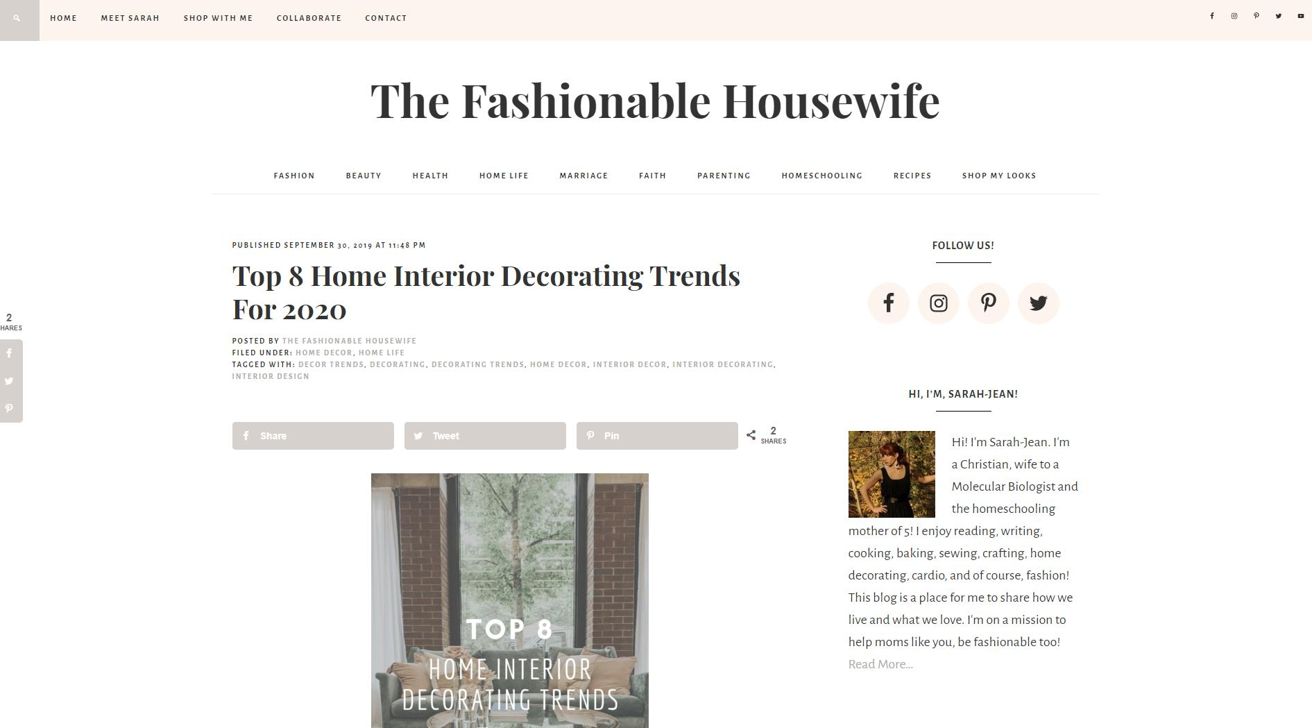 The Fashionable Housewife – October 1st, 2019