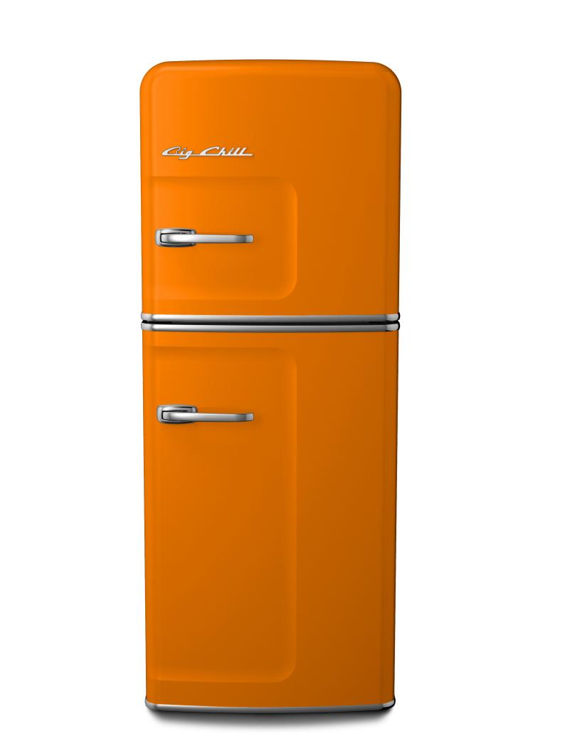 Big Chill Slim Retro Fridge in #2000 Yellow Orange