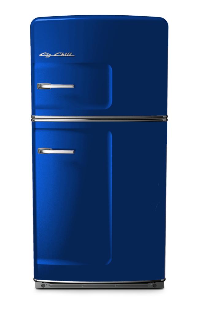 Original Retro Refrigerator in Custom Color #5005 Signal Blue
