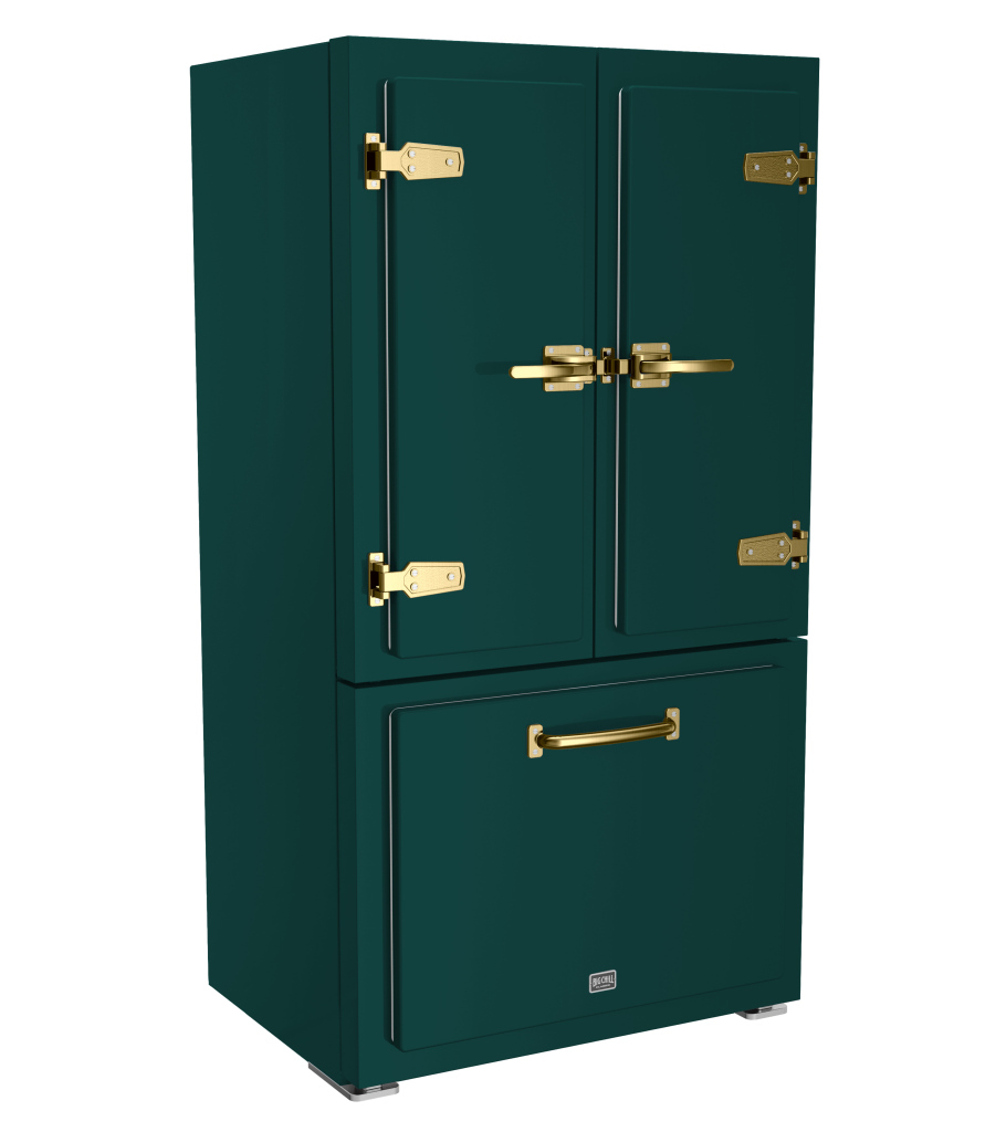 Classic Refrigerator in Custom Color #6004 Blue Green with Brushed Brass Trim