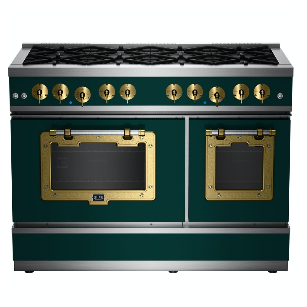 48″ Classic Stove in Custom Color #6004 Blue Green with Brushed Brass Trim