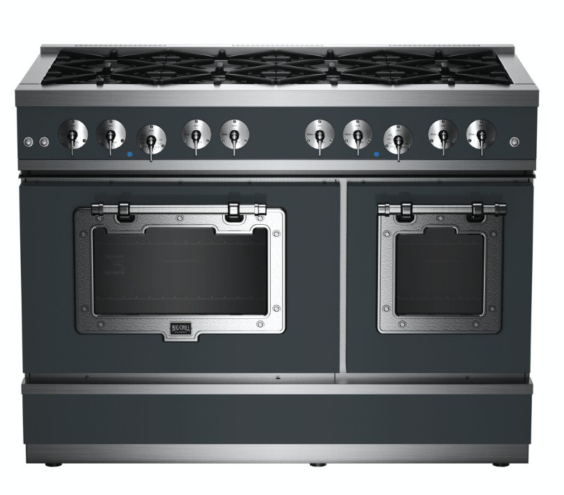Classic 48″ Stove in Custom Color #7011 Iron Gray with Chrome Trim