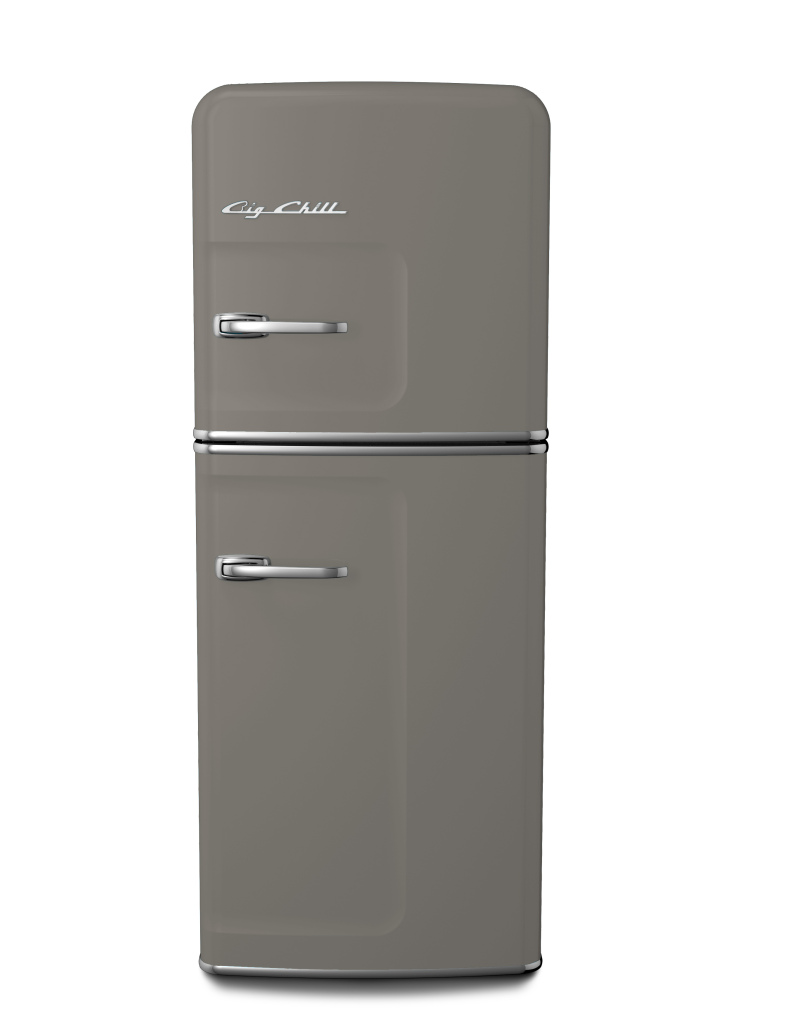 Retro Slim Refrigerator in Custom Color #7023 Concrete Gray