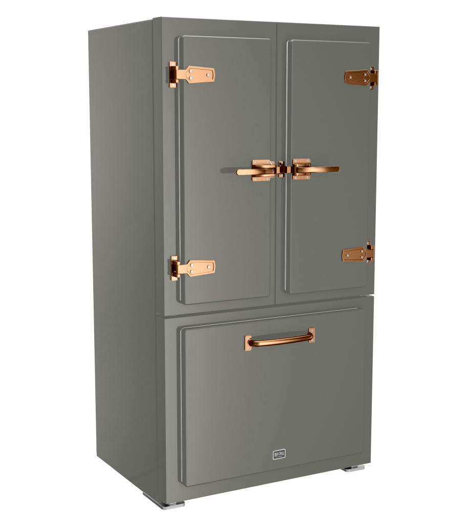 Classic Refrigerator in Custom Color #7023 Concrete Gray with Brushed Copper Trim