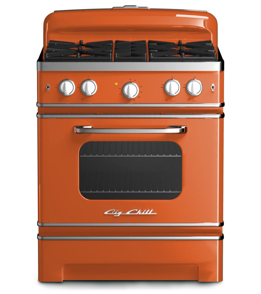 Retro 30″ Stove in Custom Color in #2001 Red Orange
