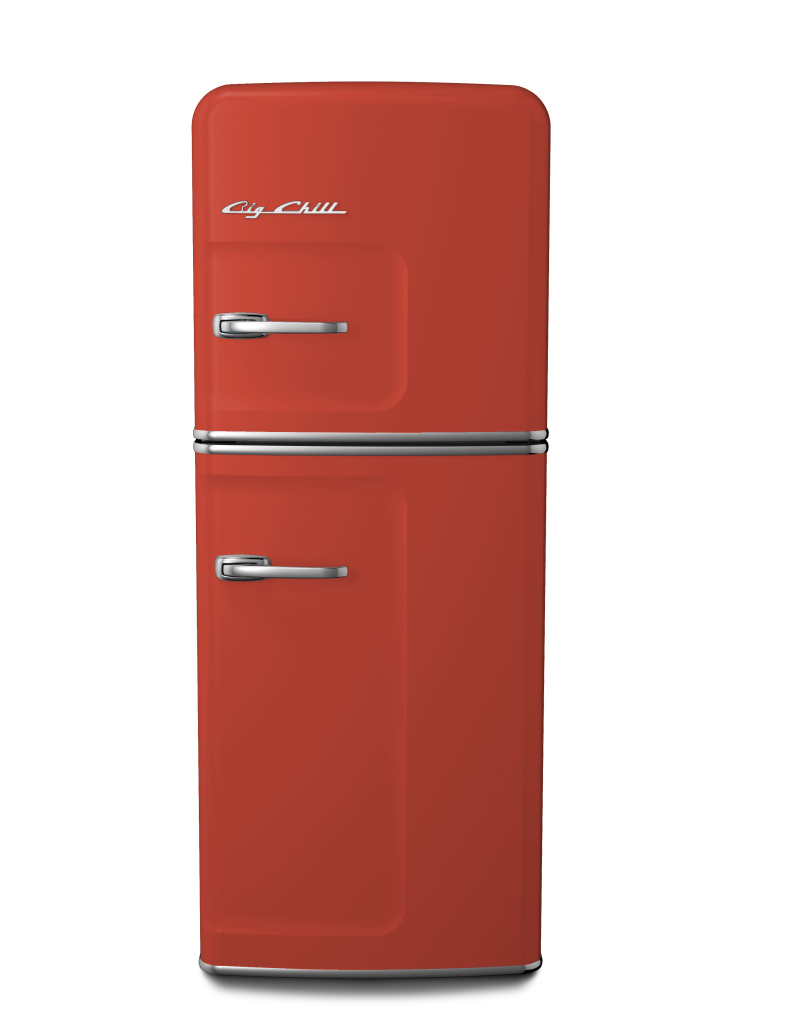 Slim Refrigerator in Custom Color #3016 Coral Red