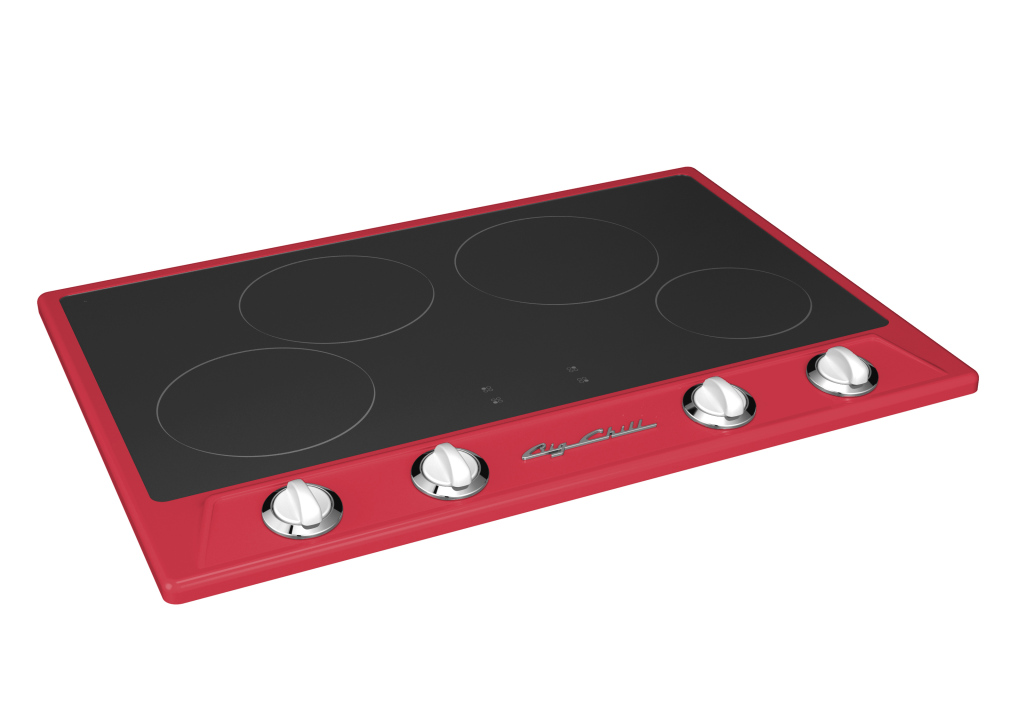 Retro Induction Cooktop in Custom Color #3018 Strawberry Red