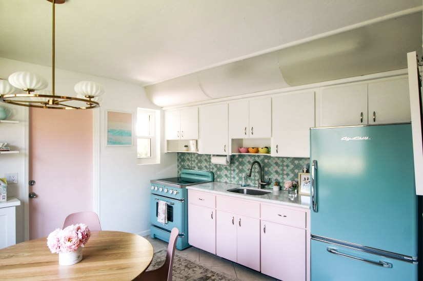 Big Chill 30″ Retro Electric Induction Range and Retropolitan Refrigerator in Pastel Turquoise