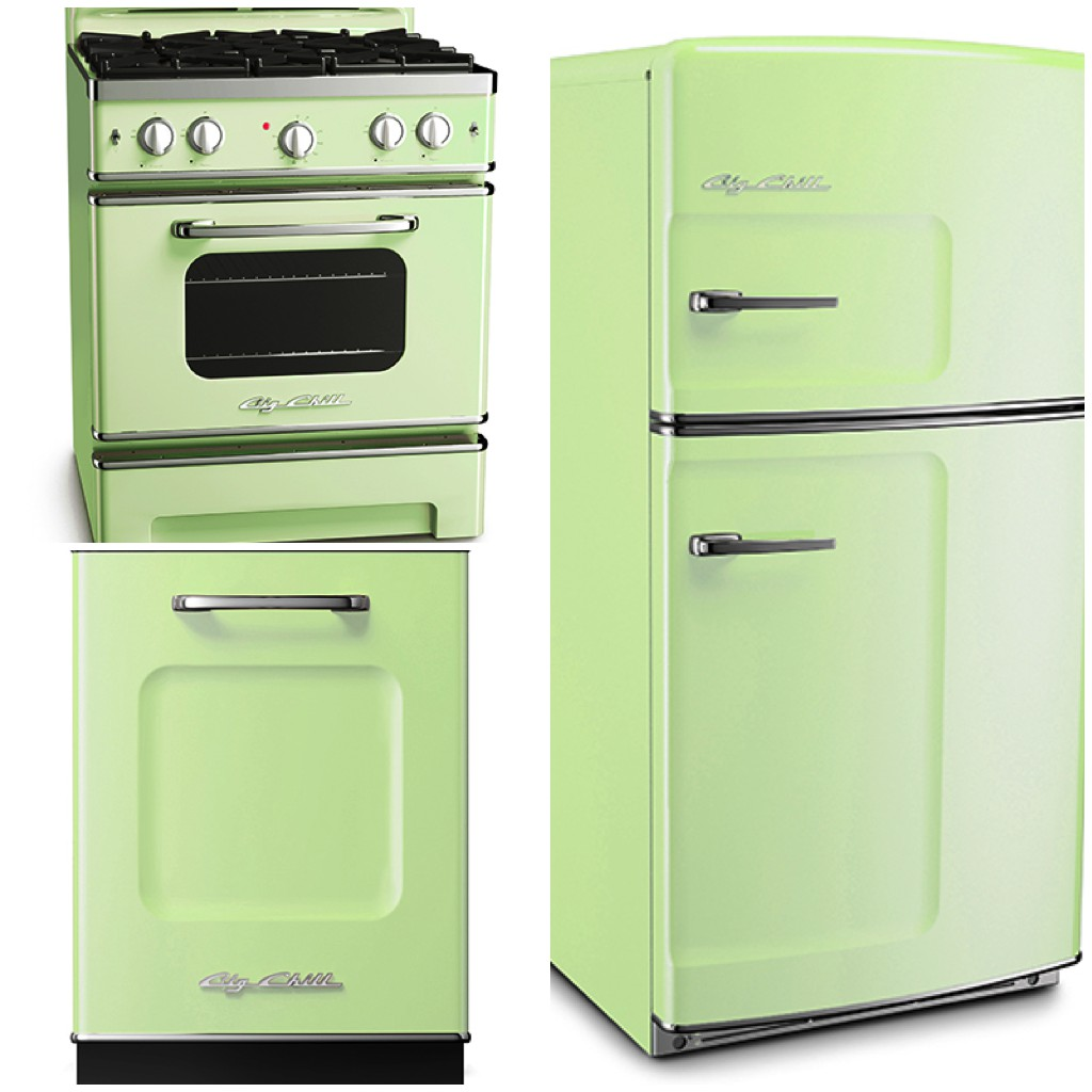 Original Fridge - 30 Retro Stove - Retro Dishwasher - Jadeite Green - Big Chill