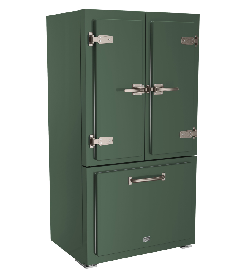 Classic Refrigerator in Custom Color 7009 Green Gray with Stainless Steel trim