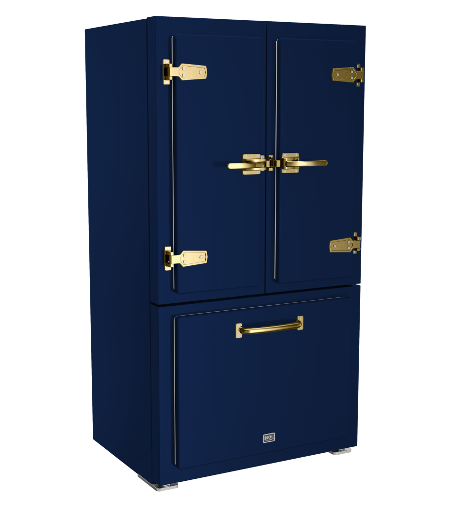 Big Chill Classic Refrigerator in Custom Color Ocean Blue with Brushed Brass Trim