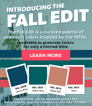 Introducing the fall edit. The fall edit is a curated palette of premium colors inspired by the 1970s. Available as premium colors for only a limited time. Azure Blue, Water Blue, Beige Red, Rose. These colors will be available across the Retro, Classic and Pro Collections until late October.