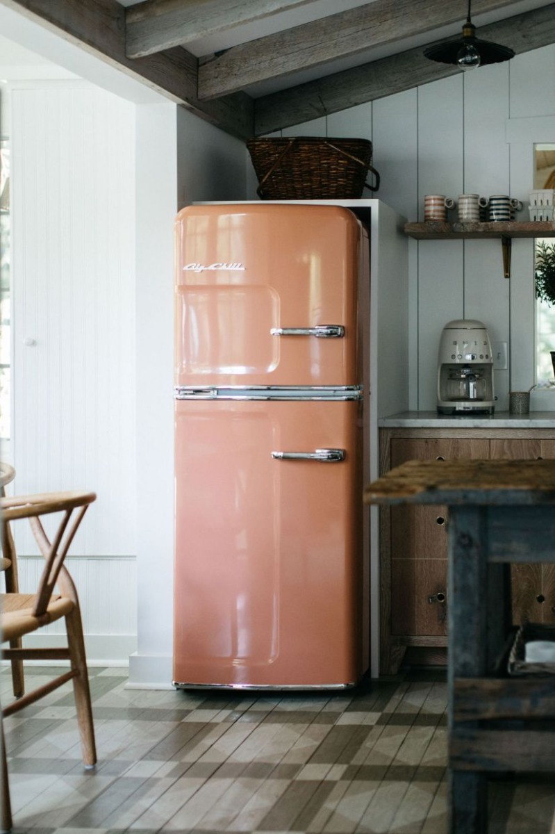 Slim Refrigerator in Beige Red #1