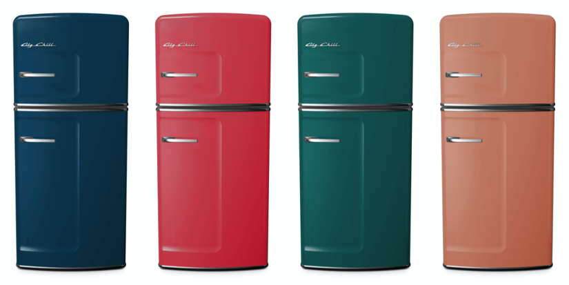 Studio Refrigerator in Azure Blue, Rose, Water Blue, and Beige Red